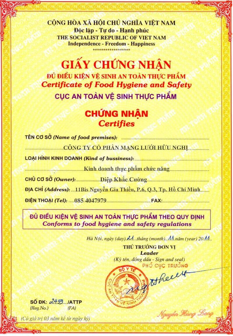 giấy chứng nhận cơ sở đủ điều kiện tiêu chuẩn an toàn thực phẩm
